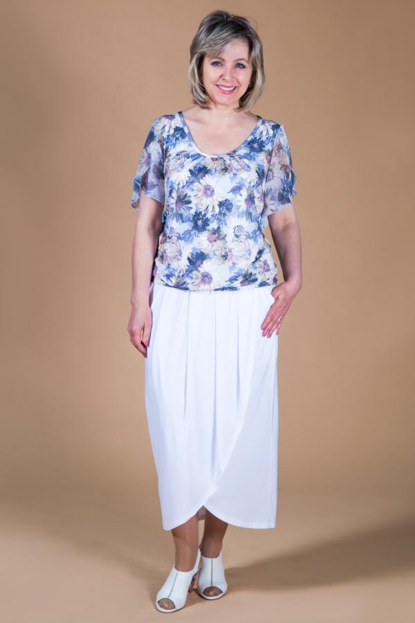 Милада удлиненная юбка белая на лето для полных Юбка Тюльпан