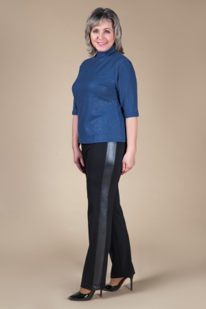 Брюки Бостон Милада брюки для полных женщин с лампасами из кожи