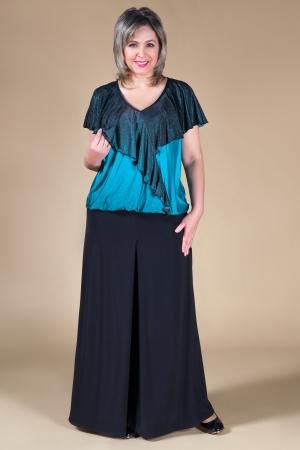 Блуза Веста Милада вечерняя блузка для полных с рюшами