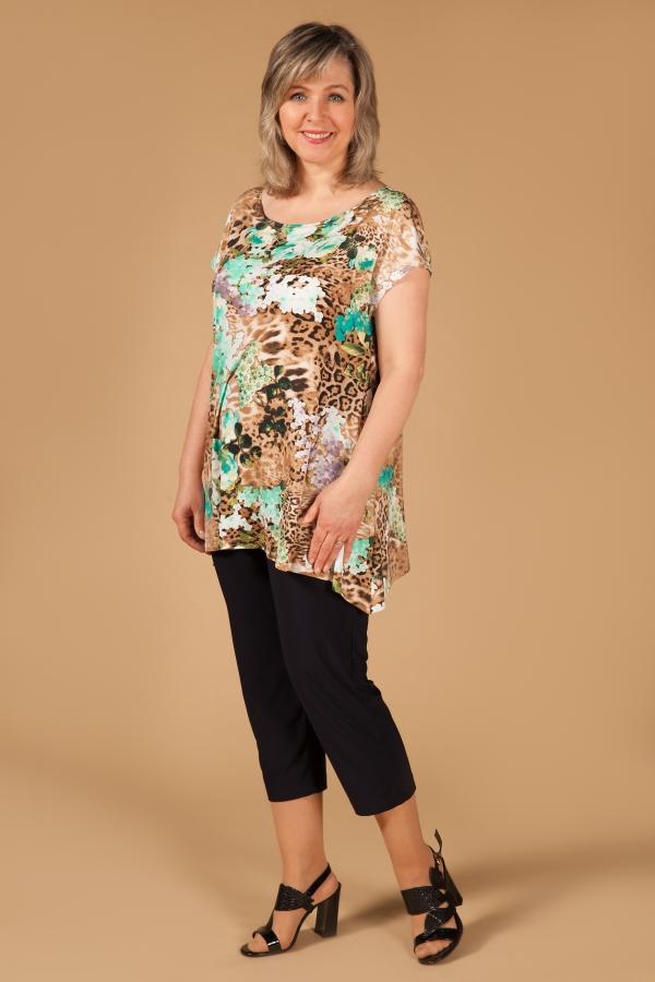 Милада летняя асимметричная блузка для полных Блуза Мадлен