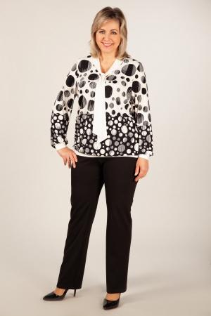 Блуза Офис Милада блузка в горох с воротом-галстуком для женщин
