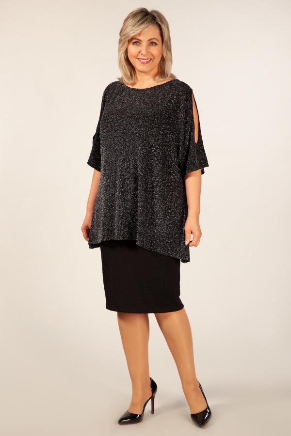 Милада блуза удлиненная асимметричная нарядная Блуза Эстель