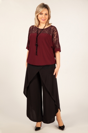 Блуза Лили Милада бордовая блузка с гипюром больших размеров