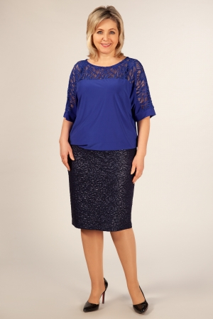 Блуза Лили Милада блузка для полных с кружевом