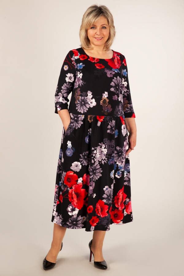 Милада платье с маками большого размера Платье Марта