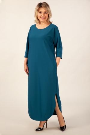 Платье Мона Милада макси голобого цвета на большой размер