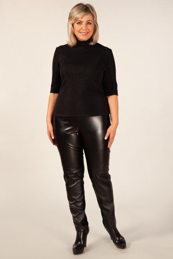 Милада зауженные кожаные брюки на полную фигуру Брюки Кожа-2
