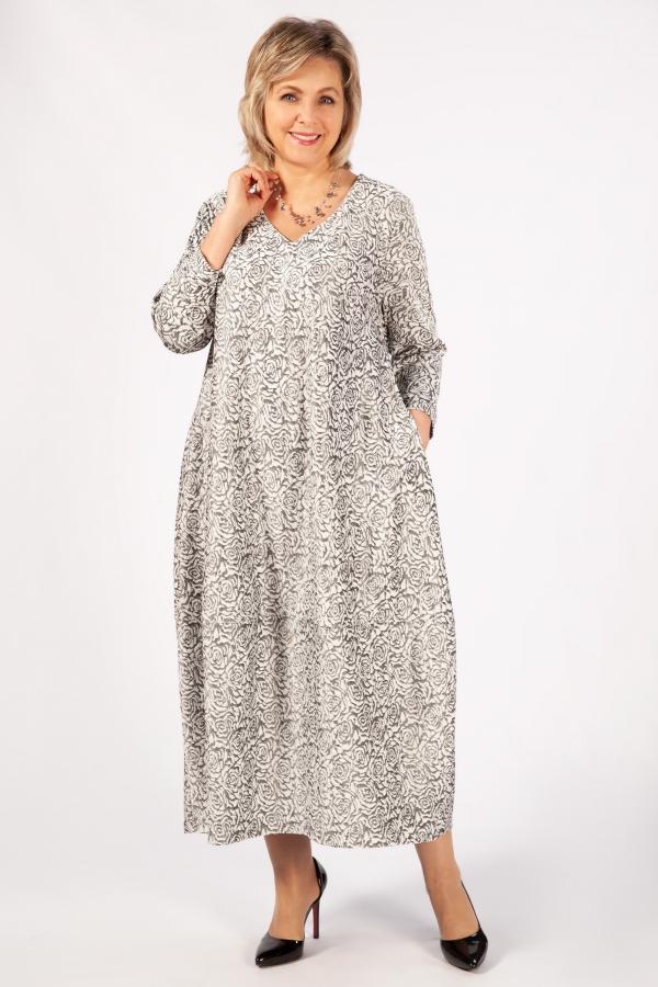 Милада длинное с v образным вырезом Платье Альбина
