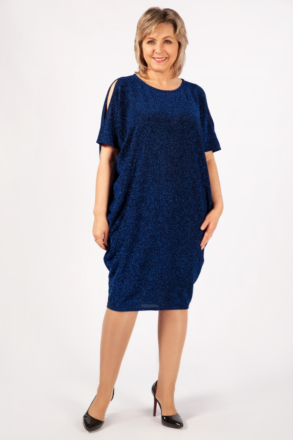 Милада с люрексом синее Платье Тиффани