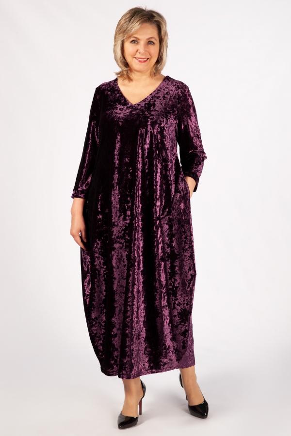Милада фиолетовый бархатное фото Платье Дорети