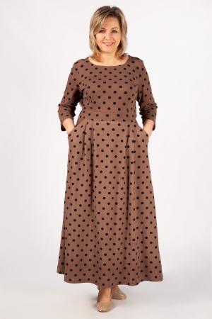 Платье Дарина Милада белый горох для полных