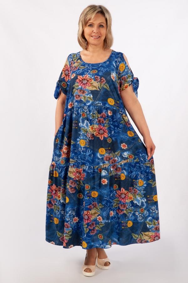 Милада джинсового цвета Платье Анфиса
