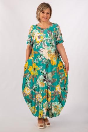 Платье Алиса Милада летнее бохо зеленый/цветы