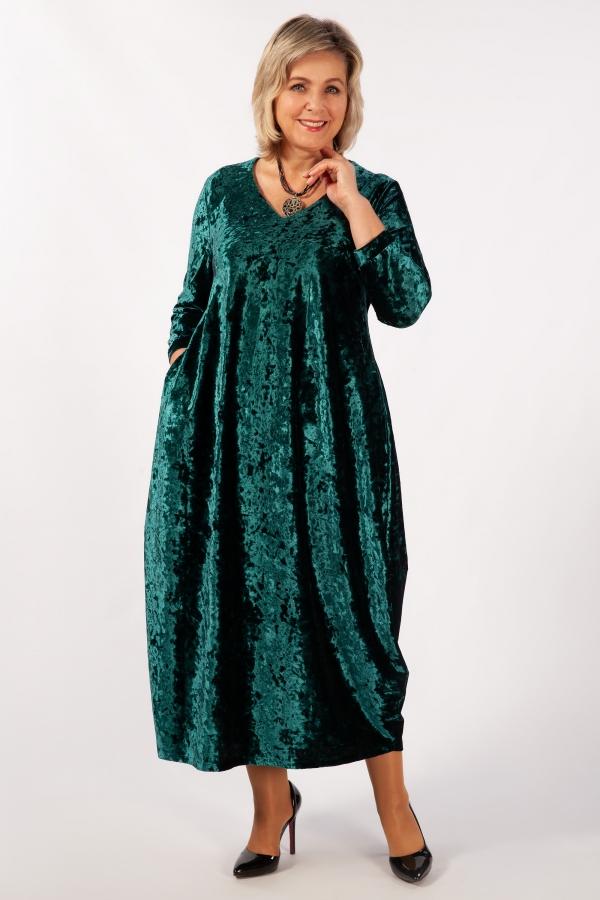 Милада зеленое бархатное Платье Дорети