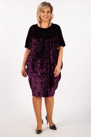 Платье Барбара Милада баклажановое из бархата