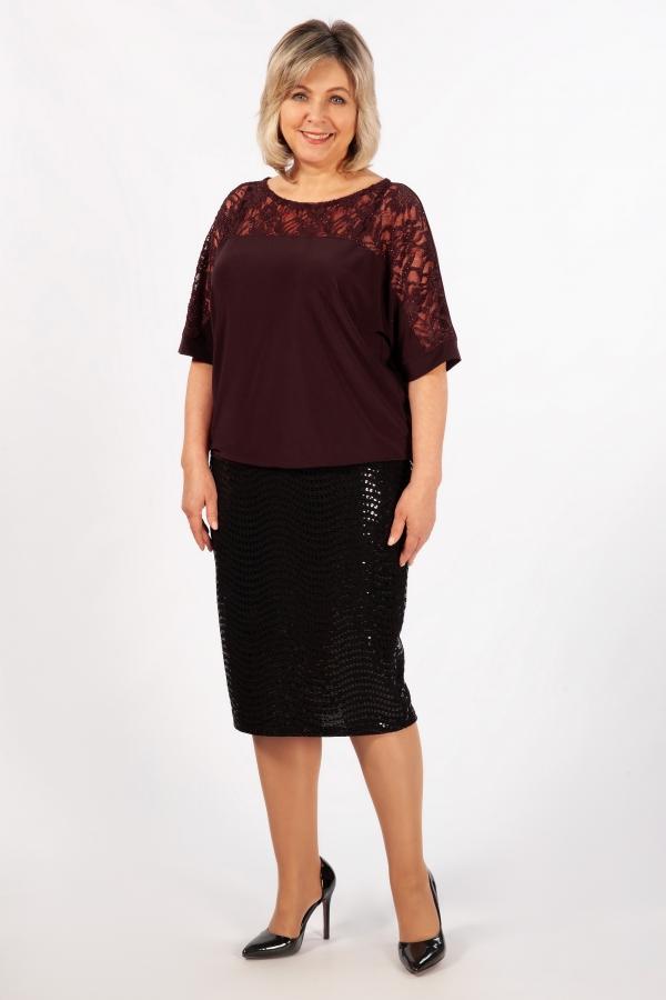 Милада бордовая блузка с гипюром больших размеров Блуза Лили