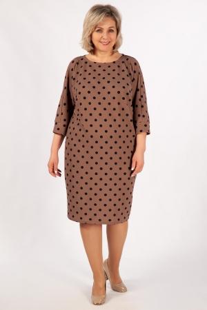 Платье Наоми Милада бежевое в горох