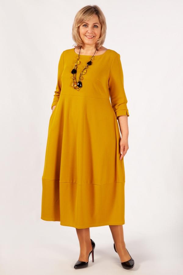 Милада длина макси цвет горчичный Платье Трейси